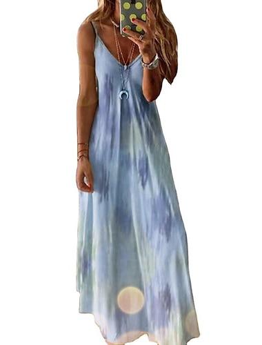 womens tie-dye dress floral print summer dresses v neck sleeveless maxi boho cocktail party beach dress size 8-22 uk (xxxxl, yellow)