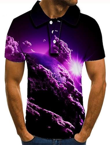 Men\'s Golf Shirt Tennis Shirt 3D Print Graphic Prints Clouds Button-Down Short Sleeve Street Tops Casual Fashion Cool Purple / Sports