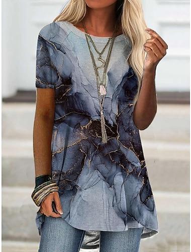 Γυναικεία Κοντομάνικο φόρεμα Μίνι φόρεμα Κοντομάνικο Συνδυασμός Χρωμάτων Άνοιξη Καλοκαίρι Καθημερινά 2021 Τ M L XL XXL XXXL