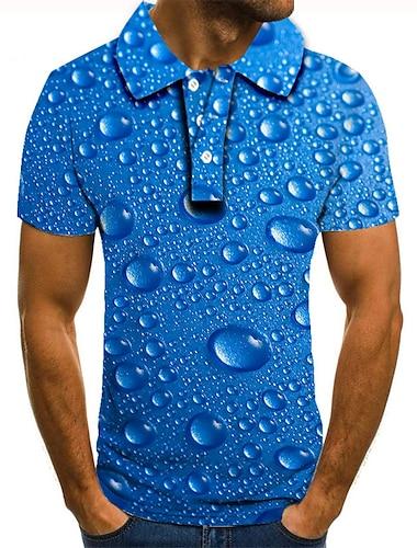 Men\'s Golf Shirt Tennis Shirt 3D Print Paisley Graphic Prints Button-Down Short Sleeve Street Tops Casual Fashion Cool Blue / Sports