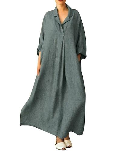 Γυναικεία Φαρδιά Μακρύ φόρεμα Μακρυμάνικο Συμπαγές Χρώμα Άνοιξη Καλοκαίρι Κολάρο Πουκαμίσου Καθημερινά Φαρδιά 2021 Τ M L XL XXL 3XL 4XL 5XL