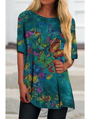 Dámské Tričkové šaty Krátké mini šaty Žlutá Trávová zelená Poloviční rukáv Tisk Motýl Zvíře Tisk Jaro Léto Kulatý Na běžné nošení Dovolená 2021 S M L XL XXL 3XL