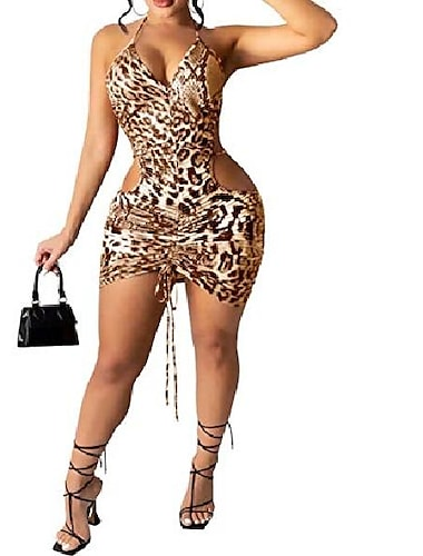 iymoo γυναικείο σέξι ερειπωμένο κορδόνι περίσφιξης v λαιμόκοψη bodycon cami φόρεμα κίτρινο s