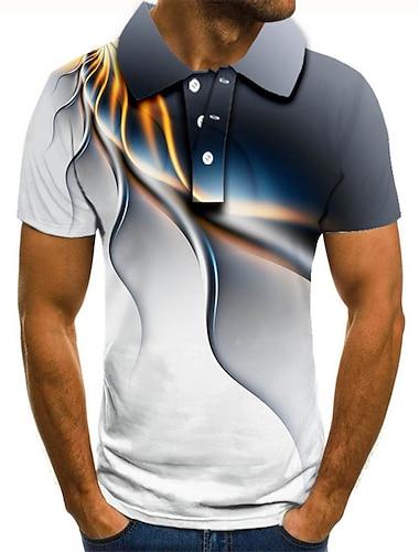 בגדי ריקוד גברים חולצת גולף חולצת טניס הדפסת תלת מימד 3D הדפסים גרפיים ישר כפתור למטה שרוולים קצרים רחוב צמרות יום יומי אופנתי מגניב אפור / ספורט