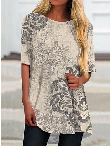 Dámské Tričkové šaty Krátké mini šaty Béžová Krátký rukáv Květinový Tisk Jaro Léto Kulatý Na běžné nošení 2021 S M L XL XXL 3XL