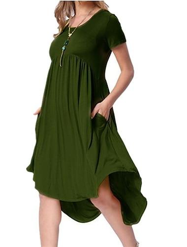 여성용 티셔츠 드레스 무릎 길이 드레스 짧은 소매 한 색상 주머니 봄 여름 라운드 넥 캐쥬얼 2021 S M L XL XXL XXXL