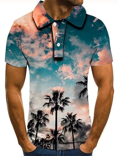 Homens Camisa de golfe Camisa de tenis Impressao 3D Cenario Estampas Abstratas Coqueiro Botao para baixo Manga Curta Rua Blusas Casual Moda Legal Azul / Esportes