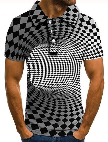 男性用 ゴルフシャツ テニスシャツ 3Dプリント 3D印刷 ジオメトリ ボタンダウン 半袖 ストリート トップの カジュアル ファッション クール ブラック / ホワイト / スポーツ