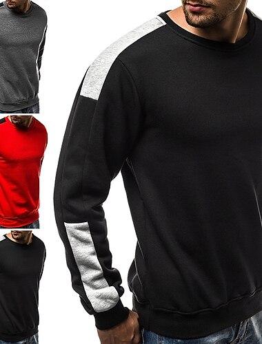 Herr Pullover-tröja Färgblock Lappverk Rund hals Dagligen Kondition Grundläggande Tunn fleece Pull Tröjor Långärmad Grå Svart Rubinrött
