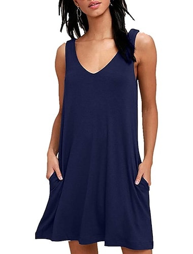Women\'s A Line Dress Short Mini Dress Sleeveless Solid Color Spring Summer Beach Wear Casual / Daily Loose 2021 S M L XL XXL
