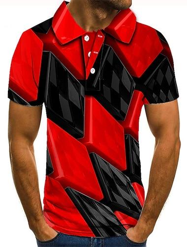 Hombre Camiseta de golf Camiseta de tenis Impresion 3D Enrejado Estampados Abotonar Manga Corta Calle Tops Casual Moda Fresco Rojo / Deportes