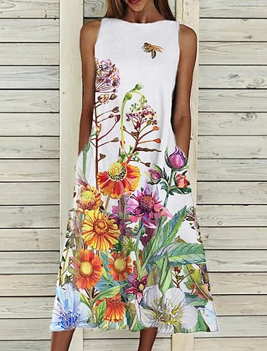 Women\'s A Line Dress Midi Dress Sleeveless Floral Pocket Cold Shoulder Print Spring Summer Round Neck Casual Vintage Going out 2021 S M L XL XXL  Cotton