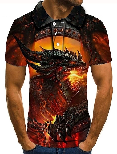 Men\'s Golf Shirt Tennis Shirt 3D Print Dragon Graphic Prints Button-Down Short Sleeve Street Tops Casual Fashion Cool Red / Sports