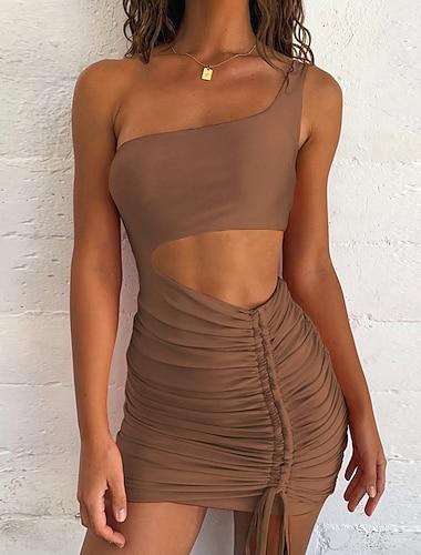 여성용 A 라인 드레스 미니 드레스 블러슁 핑크 오렌지 화이트 블랙 루비 브라운 민소매 한 색상 주름 잡힌 허리에 속이 빈 여름 원 숄더 캐쥬얼 섹시 홀리데이 클럽 슬림 2021 XS S M L XL