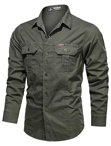 男性用 シャツ 純色 長袖 カジュアル トップの コットン カジュアル レトロ風 ブルー アーミーグリーン カーキ色
