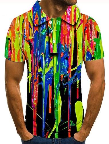 Herre Golftrøje Tennistrøje 3D-udskrivning Hældning Grafiske tryk Knap ned Kortærmet Gade Toppe Afslappet Mode Sej Regnbue / Sport