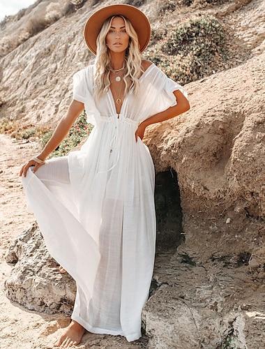 Γυναικεία Φόρεμα ριχτό από τη μέση και κάτω Μακρύ φόρεμα Κοντομάνικο Συμπαγές Χρώμα Με Βολάν Κουμπί Άνοιξη Καλοκαίρι Βαθύ V Διακοπές Σέξι Γιορτή Αργίες Παραλία Φαρδιά 2021 Ένα Μέγεθος
