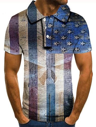 Men\'s Golf Shirt Tennis Shirt 3D Print Graphic Prints American Flag Button-Down Short Sleeve Street Tops Casual Fashion Cool Blue / Sports