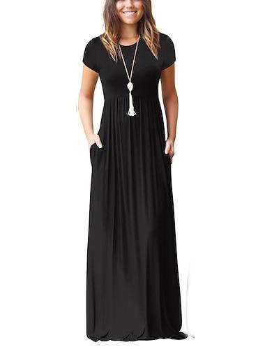 2020 Αμαζόνιο ζεστό στυλ, ευρωπαϊκές και αμερικανικές γυναικείες μακριές φούστες άνοιξη και καλοκαίρι, κοντομάνικα φορέματα με τσέπες