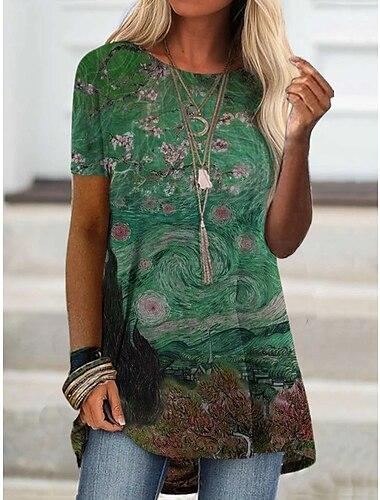 Dámské Tričkové šaty Krátké mini šaty Krátký rukáv Abstraktní Tisk Jaro Léto Kulatý Na běžné nošení 2021 S M L XL XXL XXXL