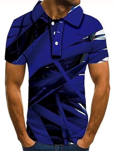 Hombre Camiseta de golf Camiseta de tenis Impresion 3D Geometrico Estampados Abotonar Manga Corta Calle Tops Casual Moda Fresco Azul Piscina / Deportes