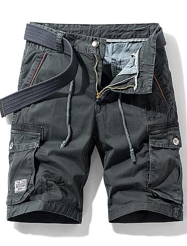 Homme Short Shorts Cargo Short Pantalon Couleur Pleine Armee verte Kaki Noir Gris Fonce