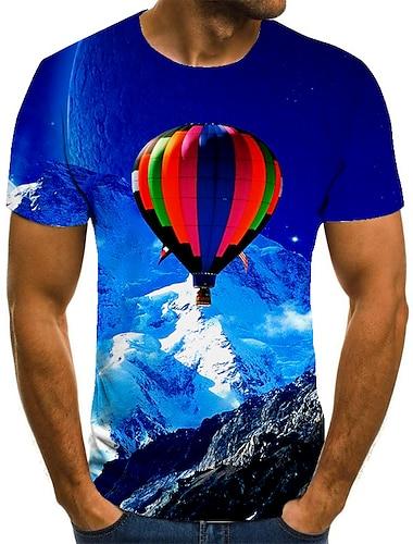Homens Unisexo Camisetas Camiseta Impressao 3D Estampas Abstratas Balao Tamanhos Grandes Estampado Manga Curta Casual Blusas Basico Moda Designer Grande e Alto Azul