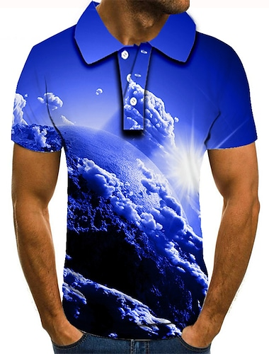 Hombre Camiseta de golf Camiseta de tenis Impresion 3D Estampados tierra Nubes Abotonar Manga Corta Calle Tops Casual Moda Fresco Azul Piscina / Deportes