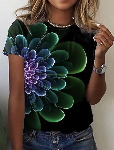 Dámské Květinový motiv Obraz Tričko Proužky Barevné bloky Tisk Kulatý Základní Topy Černá
