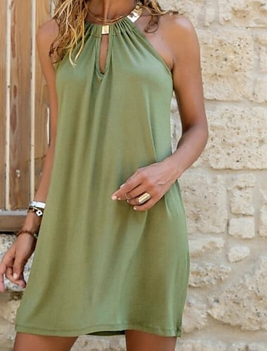 Γυναικεία Φόρεμα ριχτό Μίνι φόρεμα Θαλασσί Πράσινο του τριφυλλιού Αμάνικο Συμπαγές Χρώμα Κοφτό Καλοκαίρι Στρογγυλή Λαιμόκοψη καυτό Σέξι φορέματα διακοπών 2021 Τ M L XL XXL 3XL