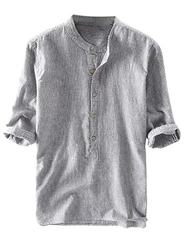 uomo collo serafino casual estate semplice camicia 3/4 button down comodo lino mezza manica retro morbido camicie grigio