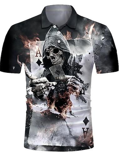 Men\'s Golf Shirt Tennis Shirt 3D Print Skull Card Button-Down Short Sleeve Street Tops Casual Fashion Cool Breathable Black / Sports