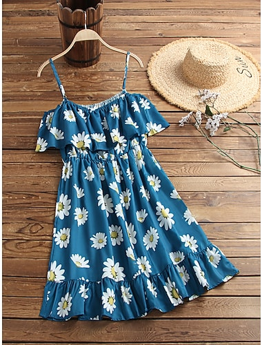 Women's Strap Dress Knee Length Dress Blue Khaki White Black Red Short Sleeve Floral Leopard Graphic Prints Print Spring Summer Off Shoulder Basic Chic & Modern 2021 S M L XL 2XL