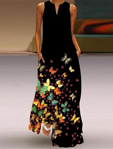 Női Swing ruha Maxi hosszú ruha Medence Lóhere Tengerészkék Szivárvány Fekete Ujjatlan Virágos Állat Nyár V-alakú Elegáns Alkalmi 2021 S M L XL XXL 3XL 4XL 5XL
