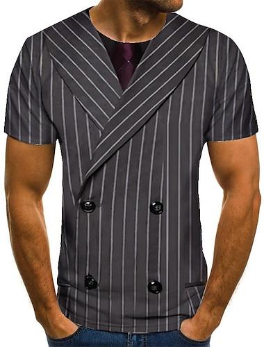 Herre Unisex T-Shirts T-shirt 3D-udskrivning Stribet Grafiske tryk Plusstørrelser Trykt mønster Kortærmet Afslappet Toppe Basale Mode Designer Stor og høj Grå