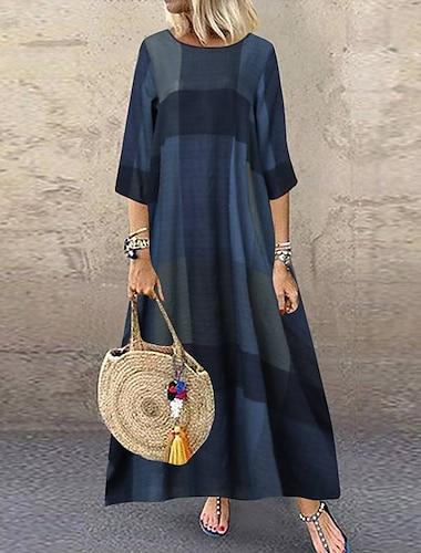 γυναικεία κούνια φόρεμα maxi μακρύ φόρεμα χακί κόκκινο σκούρο μπλε 3/4 μήκος μανίκι μπλουζάκι εκτύπωση άνοιξη καλοκαίρι στρογγυλό λαιμό casual vintage χαλαρή διακοπές 2021 s m l xl xxl 3xl 4xl 5xl