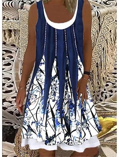 Mujer Vestido estilo camiseta Vestido hasta la Rodilla Azul y blanco Albaricoque negro Azul rojo blanco Rojo gris azul Azul Negro Sin Mangas Floral Gradiente de Color Abstracto Estampado Primavera