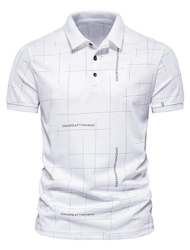 בגדי ריקוד גברים חולצת גולף חולצת טניס גראפי שרוולים קצרים קזו\'אל צמרות פשוט לבן שחור