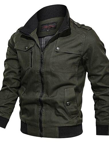 בגדי ריקוד גברים ג\'קט יומי סתיו חורף רגיל מעיל רגיל יום יומי Jackets שרוול ארוך ללא הדפסה אחיד טלאים פול ירוק צבא חאקי / כותנה