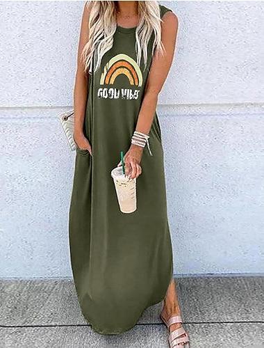 senserise womens good vibes 레인보우 민소매 맥시 드레스 여름 캐주얼 탱크 드레스 포켓 (핑크, m)