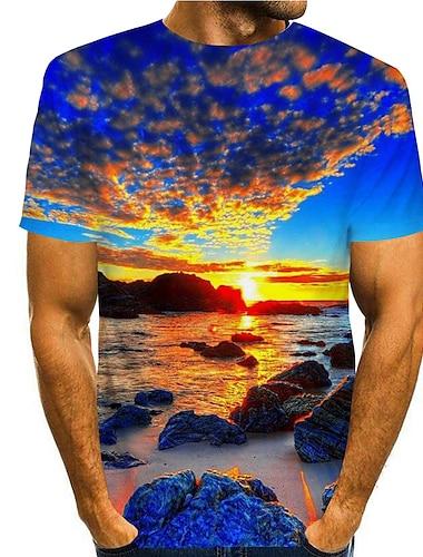Herre T-Shirts T-shirt Skjorte 3D-udskrivning Grafiske tryk Strand Trykt mønster Kortærmet Daglig Toppe Afslappet Designer Stor og høj Rund hals Blå / Sommer