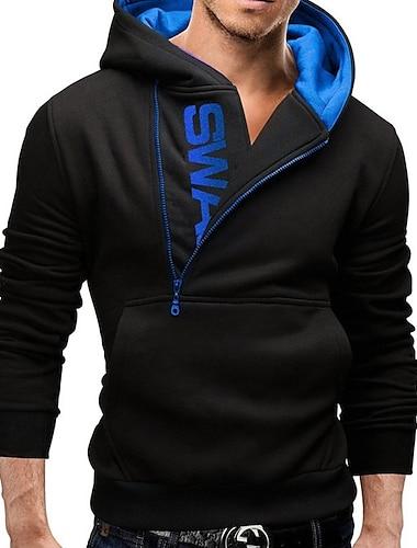 slim fit jakke med lynlås jakke hættetrøje sweatshirt hættetrøje, marineblå, xxl, gec401