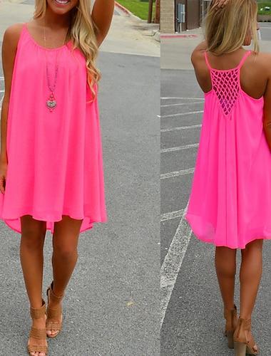 Women\'s Strap Dress Short Mini Dress fluorescent green Orange White Black Rose Red Sleeveless Solid Color Summer Casual 2021 S M L XL XXL XXXL
