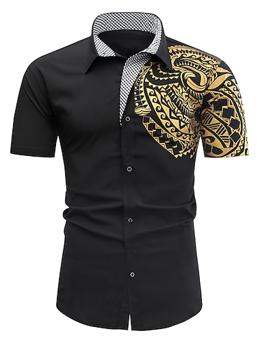 Муж. Рубашка Другие принты Тотем С короткими рукавами Повседневные Верхушки Простой Воротник с уголками на пуговицах (button-down) Винный Белый Черный