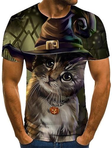 Homens Unisexo Camisetas Camiseta Camisa Social Impressao 3D Gato Estampas Abstratas Tamanhos Grandes Estampado Manga Curta Casual Blusas Basico Moda Designer Grande e Alto Decote Redondo Verde