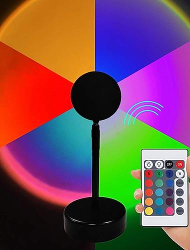 RGB Sunset Rainbow Projection Lamp Tiktok LED Night Light LED Sunset Remote Control Table Lamp Living Room Bedroom Hotel Background Wall Decorative Lighting
