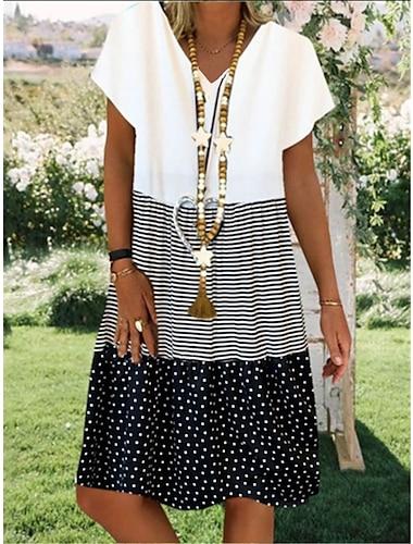 Γυναικεία Φόρεμα ριχτό Φόρεμα μέχρι το γόνατο Κίτρινο Μαύρο Ρουμπίνι Κοντομάνικο Πουά Ριγέ Συνδυασμός Χρωμάτων Κουρελού Καλοκαίρι Λαιμόκοψη V Γραφείο Φαρδιά 2021 Τ M L XL XXL 3XL 4XL 5XL