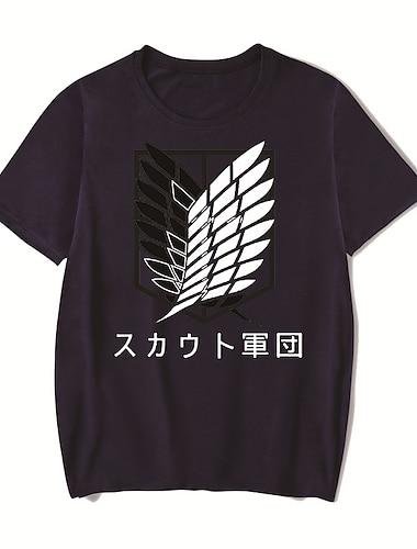 Tee T-shirt Homme Unisexe Estampage a chaud Anime Imprimes Photos Grandes Tailles Attack on Titan Imprime Manches Courtes Decontracte Quotidien Standard Coton basique Designer Grand et grand Col Rond