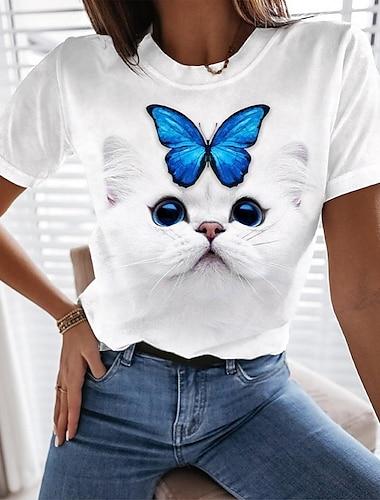 Dámské Motýl 3D kočka Tričko Kočka Motýl 3D Tisk Kulatý Základní Topy Bílá