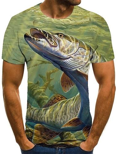 Herre Unisex T-Shirts T-shirt Skjorte 3D-udskrivning Grafiske tryk Fisk Plusstørrelser Trykt mønster Kortærmet Afslappet Toppe Basale Mode Designer Stor og høj Rund hals Grøn